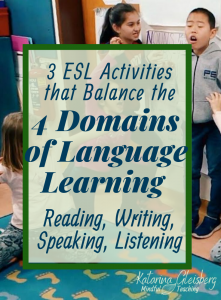 The most engaging language learning contains a balance between all four domains of language learning: Reading, Writing, Speaking, and Listening. Enjoy three balancing techniques/motivational activities (and free ESL resources) that serve English Language Learners of all ages. Join us ESL teachers, sharing balanced lessons with reading comprehension, speaking and listening strategies, and writing prompts. #esl #english #englishlessons #languagelearning #speaking #reading #writing