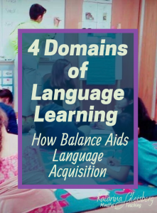 A balance between all four domains of language learning—Reading, Writing, Speaking, and Listening—provides the most effective, engaging language learning! Enjoy three specific motivational activities (and free ESL resources) that serve English Language Learners of all ages. Join international ESL teachers, sharing balanced lessons with reading comprehension, speaking and listening strategies, and writing prompts. #esl #english #englishlessons #languagelearning #speaking #reading #writing