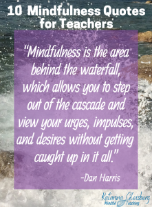 """Mindfulness is the area behind the waterfall, which allows you to step out of the cascade and view your urges, impulses, and desires without getting caught up in it all."" Introduce mindfulness with definitions, benefits, and short, simple mindful practices for kids in the classroom. Get ideas for books, apps, activities, and bulletin board designs that will bring greater attention and decreased reactivity for children and adults! #mindfulness #mindfulnessquotes #quotes #mindfulnessforkids"