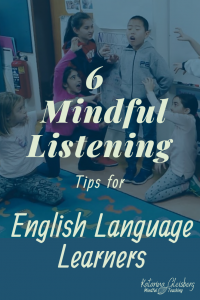 Engaging language learning contains a balance between all four domains of language learning: Reading, Writing, Speaking, and Listening. These mindful listening strategies appeal to English Language Learners of all multiple intelligences, for kids AND adults! Language activities (and free ESL resources) support IELTS prep and mindful teaching. Join us ESL teachers, sharing lesson ideas with speaking and listening strategies. #esl #listening #mindfullistening #mindfulness #listeningtips #ielts